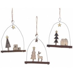 Each set with its own festive scene, these hanging wooden decorations will look perfect on any tree at Christmas time