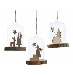 Bring a rustic woodland sense to your home decor this Christmas with this sweet assortment of hanging dome decorations
