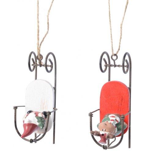 Rustic wooden sleigh hangers featuring vintage inspired Santa and Reindeer character figures. Complete with rustic jute