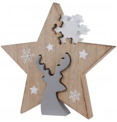 Add a touch of the woodlands to any themed home space this Christmas with this smooth finished wooden decoration