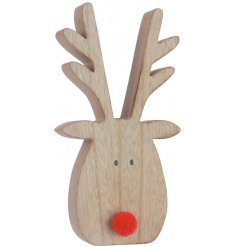 A charming little wooden reindeer block with an added distressed feature and bright red nose decal