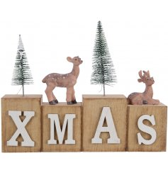 Invite a cozy natural woodland touch to your home decor with this large block XMAS sign