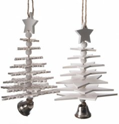 Bring a Nordic touch to any tree decor or home display with this assortment of grey toned hanging decorations
