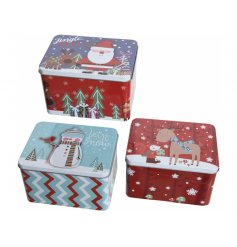 A sweetly festive themed assortment of sized iron storage tins