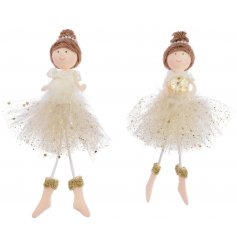 Bring a golden touch to your tree decor this festive season with this sweet assortment of hanging fabric ballerinas