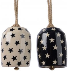 An assortment of 2 Small Ceramic Christmas Bells