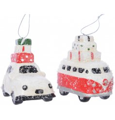 Bring a fun and festive touch to your tree decor this Christmas with this quirky assortment of terracotta hanging cars