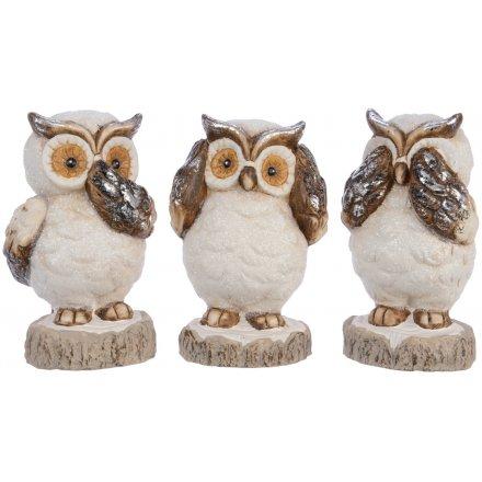 Trio of Terracotta Owl Figures