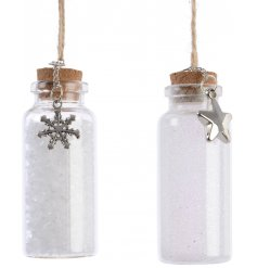 Bring a glittery touch to your tree decor at Christmas with this assortment of hanging mini mason jars