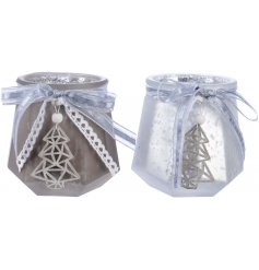 Bring a charming Winter Wonderland touch to your home decor or displays with this chic assortment of glass tlight holde
