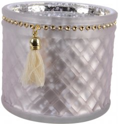 A beautifully vintage inspired glass candle holder with an added gold beaded decal and hanging tassel