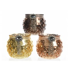 Bring a Vintage Luxe touch to any home decor display with this beautiful assortment of glass tlight holders