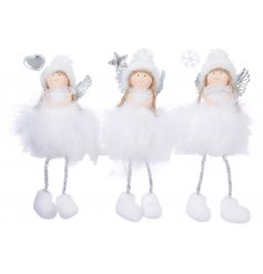 a sweet assortment of little sitting angel decorations, each complete with their own silvered decoration