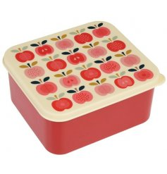 A lunchbox featuring a vintage look apple print