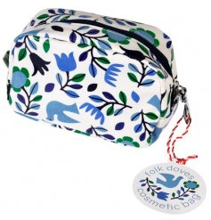 A purple and blue themed cosmetic bag, set with a floral dove decal