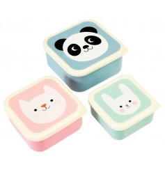 An adorable stacking set of pastel colour themed lock tight Tupperware lunch boxes.