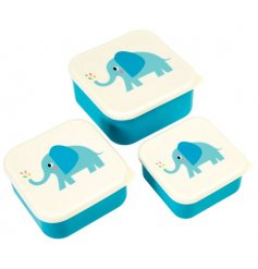 An adorable stacking set of blue themed lock tight Tupperware lunch boxes.