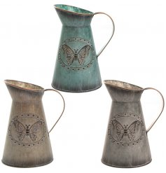 3 assorted Medium Metal Butterfly Jugs