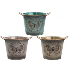 An assortment of 3 medium Metal Butterfly Planters