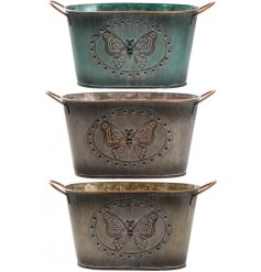 3 assorted butterfly metal trough planters