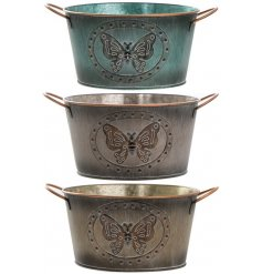 An assortment of 3 Medium Butterfly Metal Planters