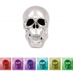 Set the mood in any home interior with this sleek ornamental skull in a silver coating