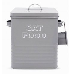 A Grey Kitchen Collection metal Cat Food Tin