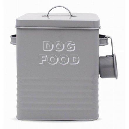 Grey Kitchen Collection Metal Dog Food Tin