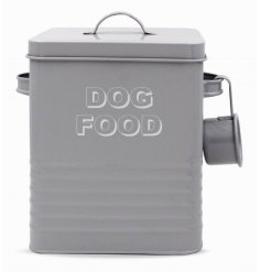 A Grey Kitchen Collection Metal Dog Food Tin