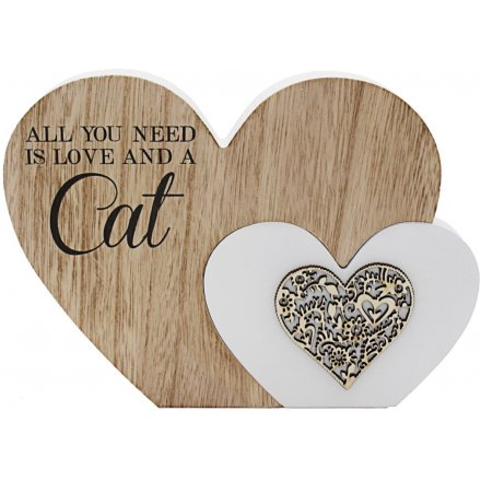 'Love and a Cat' Natural Toned Heart Block