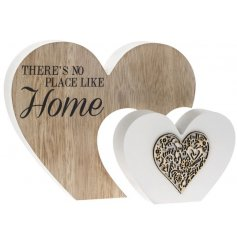 Add this chic and sweet wooden heart block into any home space for a sentimental and loving vibe