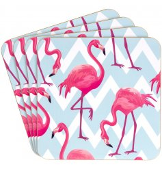 Introduce a fabulous flamingo feel to your kitchenware with this wonderfully themed set of coasters