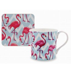 Add a funky flamingo feel to any home style with this trendy and colourful mug and coaster set