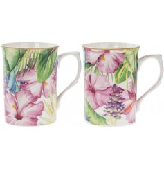 A set of 2 Tropical Paradise print Mugs