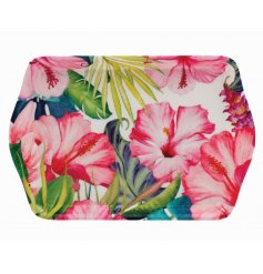 A small tray with tropical paradise print