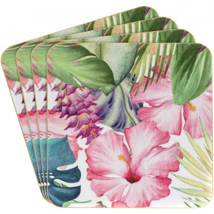 Tropical Paradise Coasters, Set Of 4