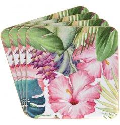 A Set Of 4 colourful Tropical Paradise Coasters