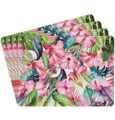 A set of 4 colourful Tropical Paradise Placemats