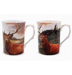 A set of two tall mugs with stag design