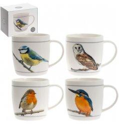 An assortment of 4 British Bird Mugs