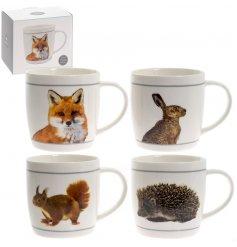 An assortment of 4 White Wildlife Mugs