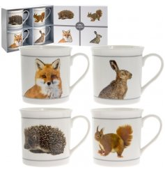 A set of 4 wildlife inspired mugs
