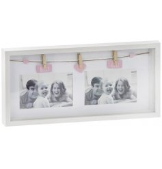 A Baby Girl Twin Photo Peg Frame