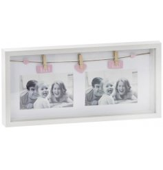 A Twin Photo Peg Frame with Baby girl tags