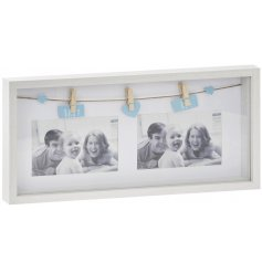 A Twin Photo Peg Frame with Baby boy tags