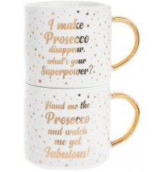 Bring a comical sense to your morning coffees with this glamorous set of stacking mugs