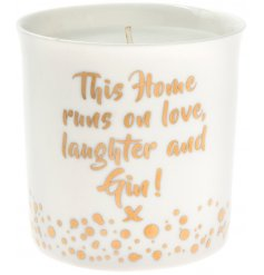 A chic and sweet ceramic candle pot, complete with its Love Laughter golden quote