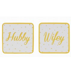 A sleek set of his and hers themed coasters