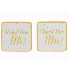 A Brand New Mr & Mrs Gold Coaster Set