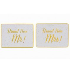 A set of 2 Brand New Mr & Mrs Gold Placemats